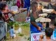 কক্সবাজারে খাবার নিয়ে বন্যাদুর্গতদের পাশে তরুণরা
